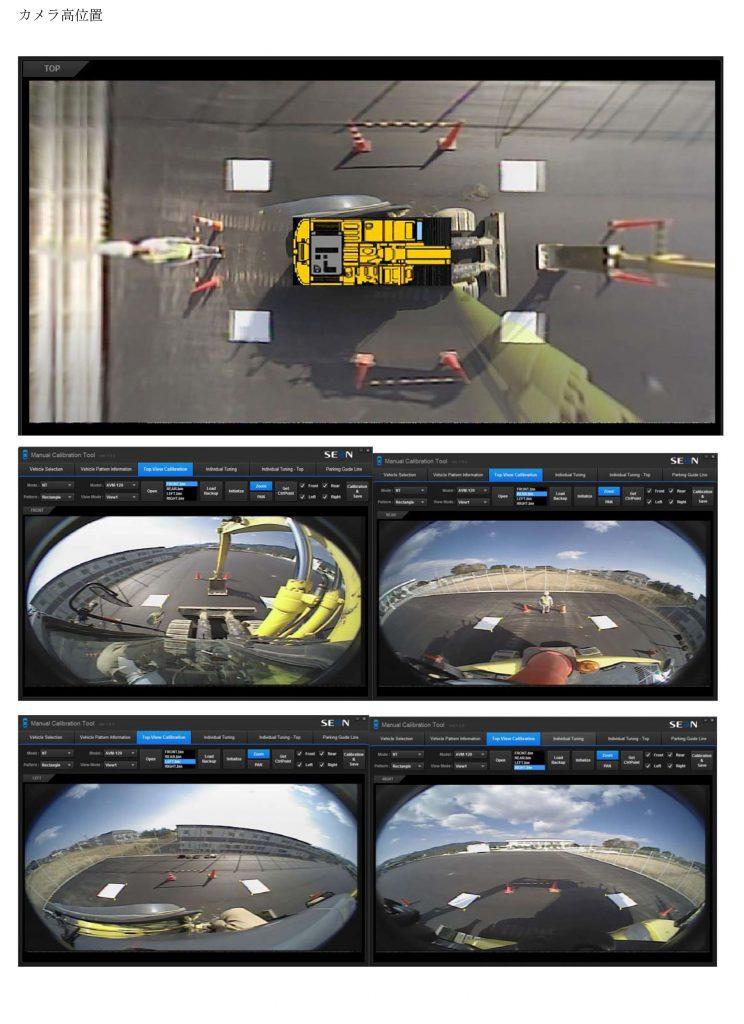 重機周囲360度ビューモニタ表示例